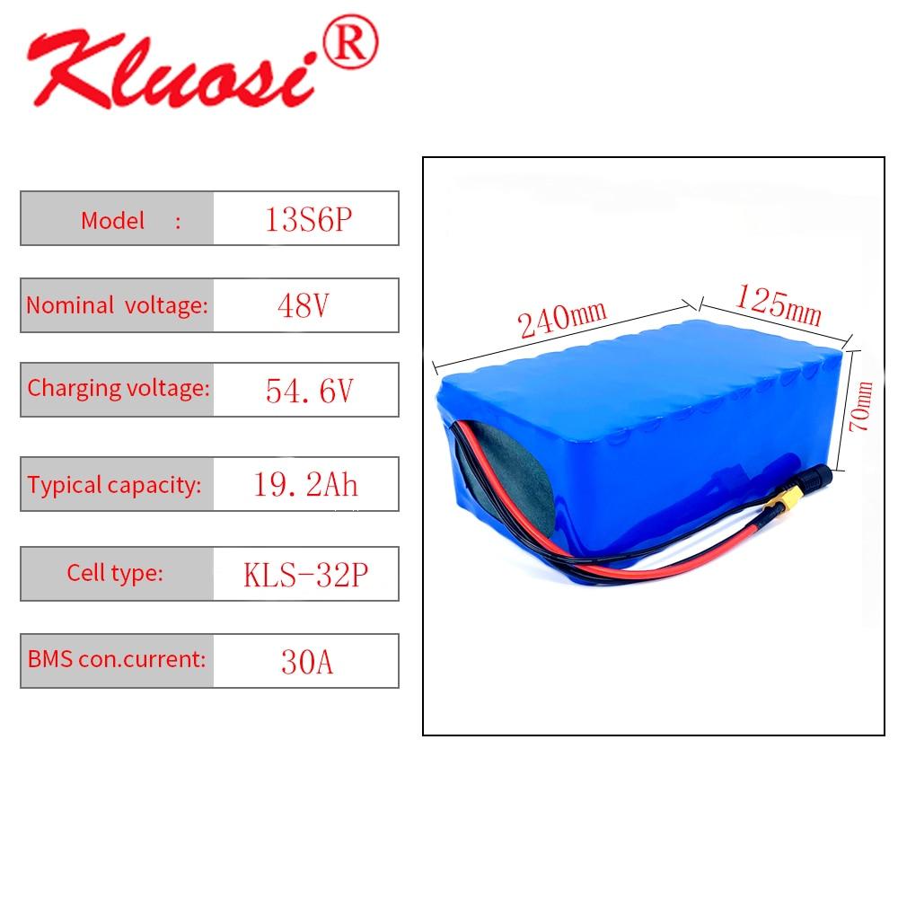 KLUOSI-بطارية ليثيوم أيون 48 فولت ، 13S6P ، 19.2 آه ، 20 آه ، 54.6 فولت ، مع BMS 30a ، لمحرك السكوتر الكهربائي ، الدراجة