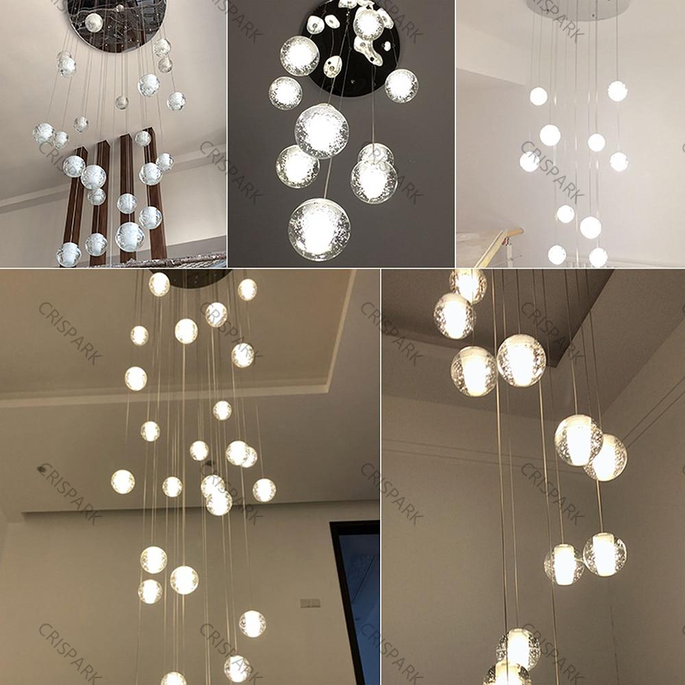 Modern LED Chandelier Lighting Nordic Crystal Pendant Lamp for Stair Home Suspension Hanging Lamp Villa Cristal Pendant Light