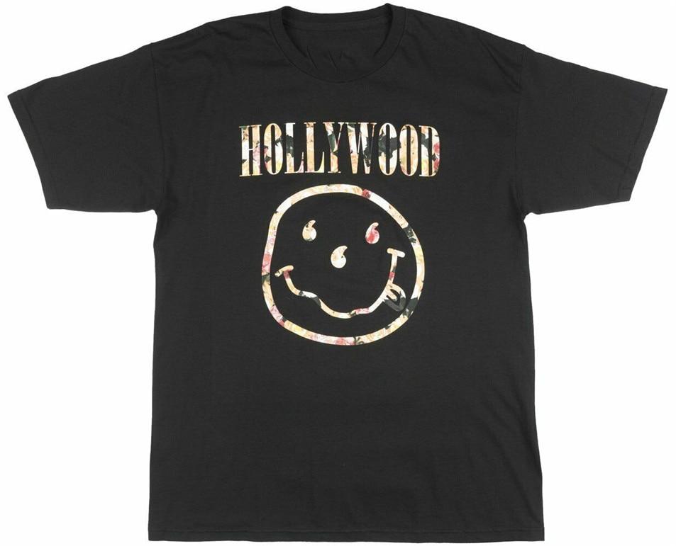 Camisa masculina blvck scvle solta do tamanho do camiseta da cara de miley de hollywood da escala preta