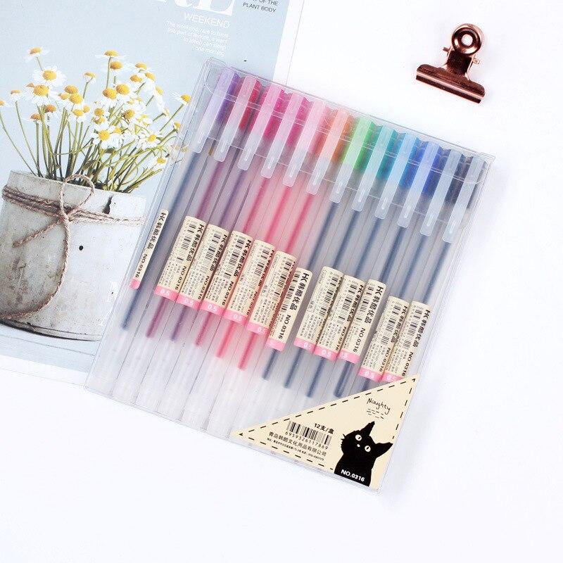 Набор гелевых ручек 0,5 мм, 12 цветов/набор artspace набор гелевых ручек совята 12 цветов 1 0 мм