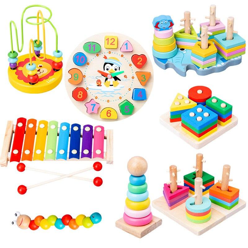 Деревянные 3D игрушки Монтессори для обучения детей, детские красочные деревянные блоки, развивающая игрушка для детей, рождественский пода...