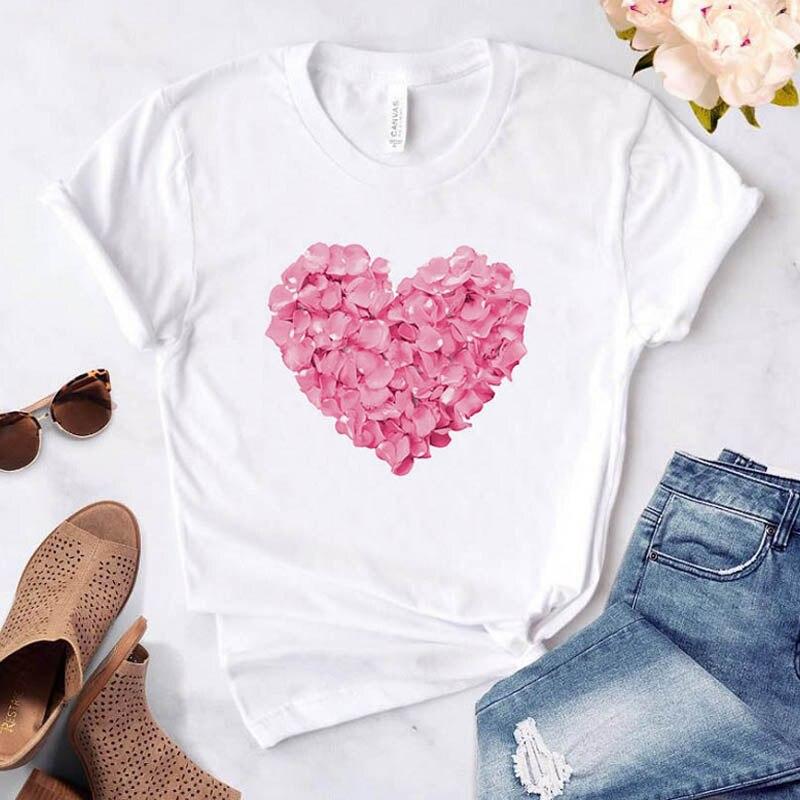 Fashion Pink Heart Flower Print Women tshirt Casual Funny t shirt Harajuku 90s White tshirt Tumblr Streetwear