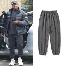 Kanye west baggy joggers calças masculinas mulher urbana streetwear calças de suor cinza cáqui kardashian solto casual joggers sweatpants