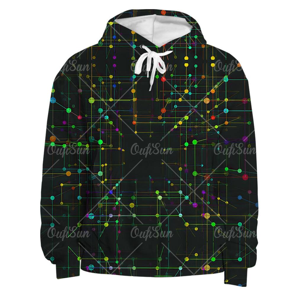 Мужской свитер, модный крутой свитер с 3D электронным принтом, Повседневная Толстовка в стиле Харадзюку, уличные топы, Длинные футболки овер...