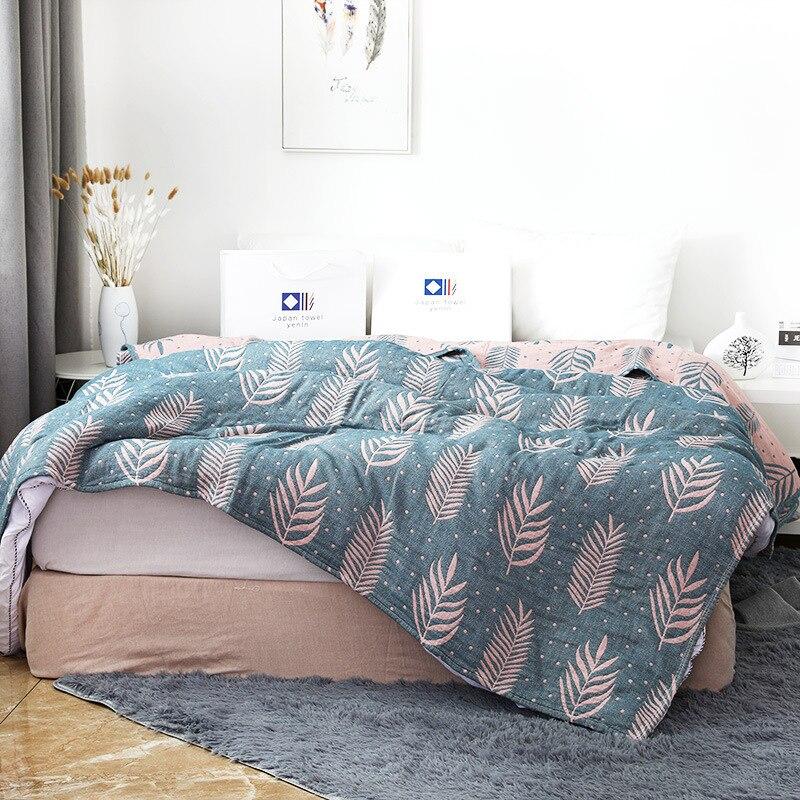 Junwell الخيزران القطن الشاش الصيف بطانية غطاء السرير أريكة السفر تنفس شيك العشب الموضوع كبير لينة رمي بطانية