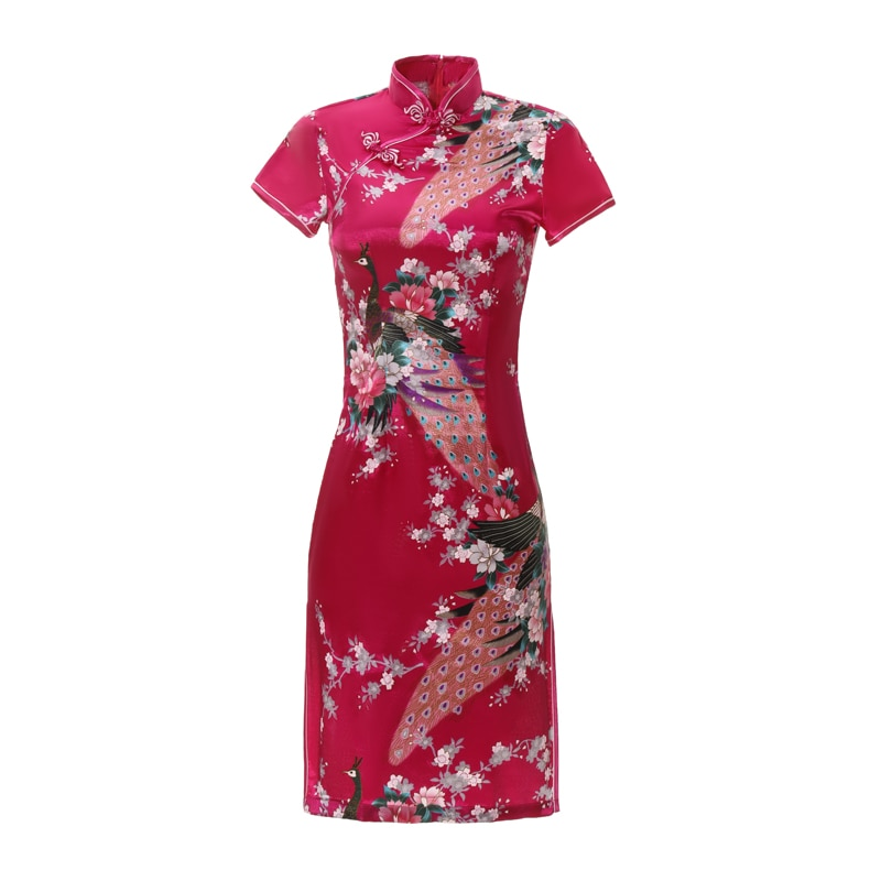 Женское китайское платье Ципао с розовым принтом павлина, традиционное Повседневное платье больших размеров 3XL