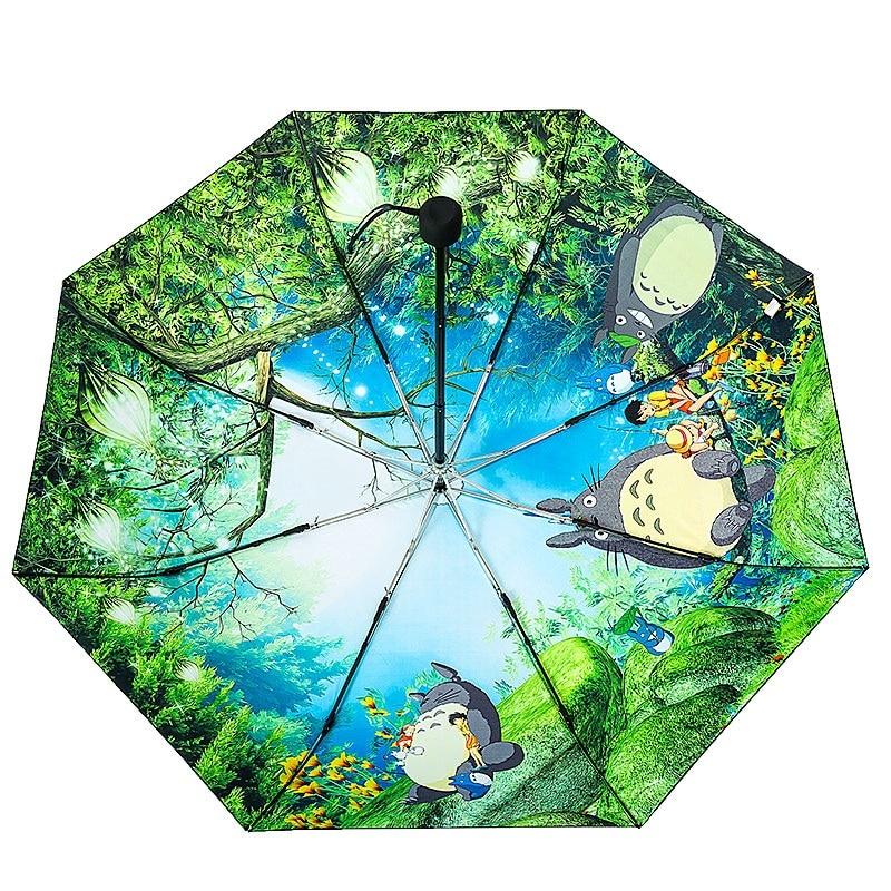 Kindream-sombrilla Ghibli Totoro para mujer, sombrilla de lluvia, Paraguas Plegable, Parapluie