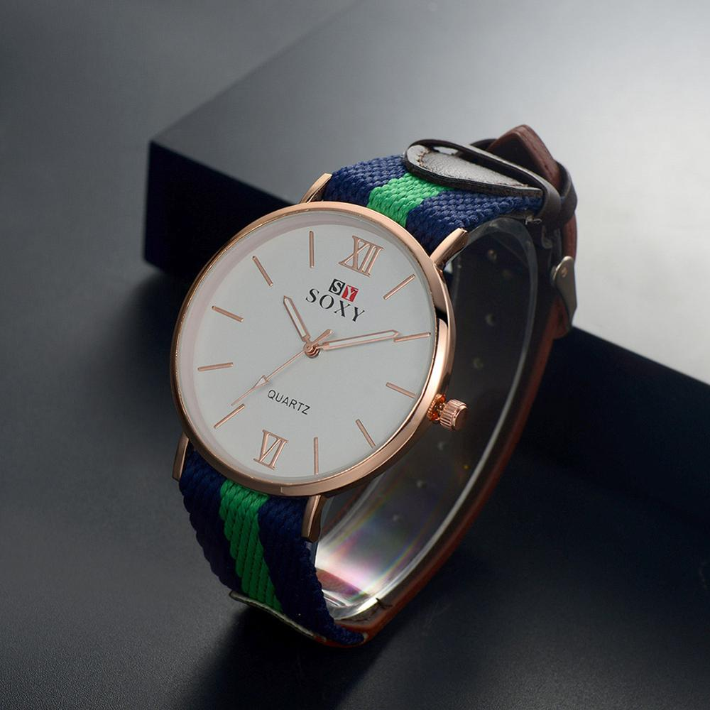 Moda de casal casual banda tecido colorido estilo campus relógio grande dial quartzo relógios de pulso reloj simples