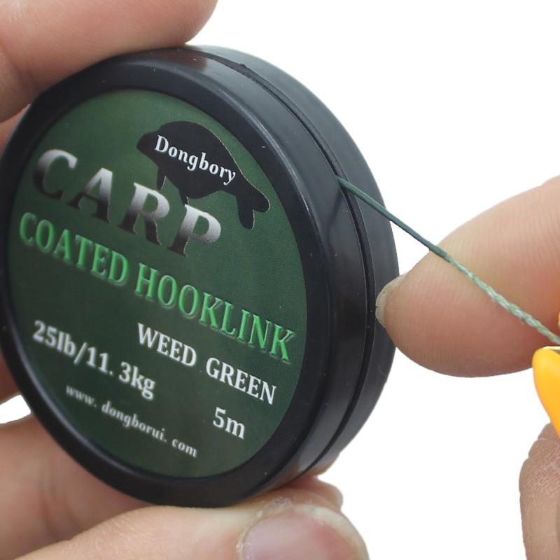 1PCS 5m Carp Fishing Line Hook Link Carp Coated Hooklink Braid Line for Hair Rig 15IB 25IB 35IB Carp Coarse Fishing Tackle