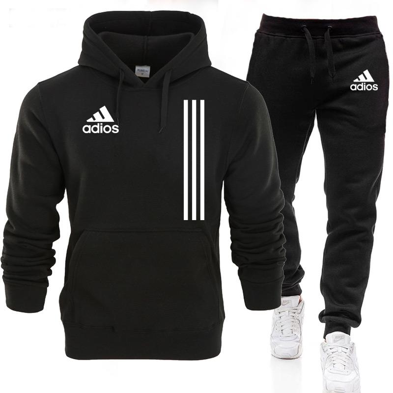 2021 New adios Men's Autumn Winter Sets Hoodie+pants Two Pieces Casual Tracksuit Male Sportswear Gym
