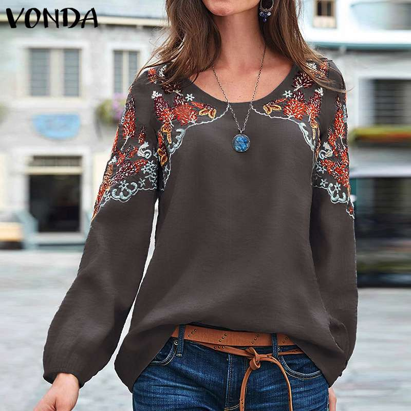 VONDA S-5XL Blusas de otoño para mujer cuello redondo manga larga linterna para fiesta camisetas Vintage estampado primavera Blusas Bohemias de gran tamaño