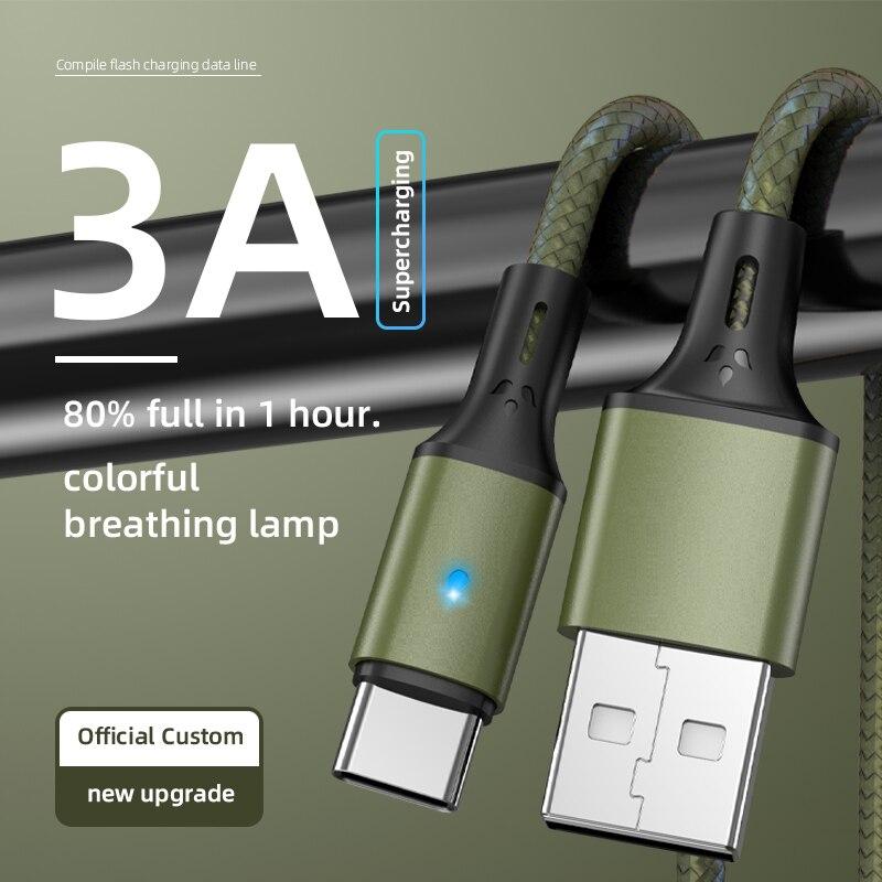 3A rápido Cable de carga de Cable de datos USB con LED...