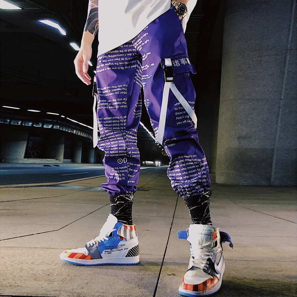 Block Pocket Patchwork Cargo Joggers Men 2021 New Streetwear Hip Hop Letter Print Harem Pants Mens Casual Trousers Sweatpants