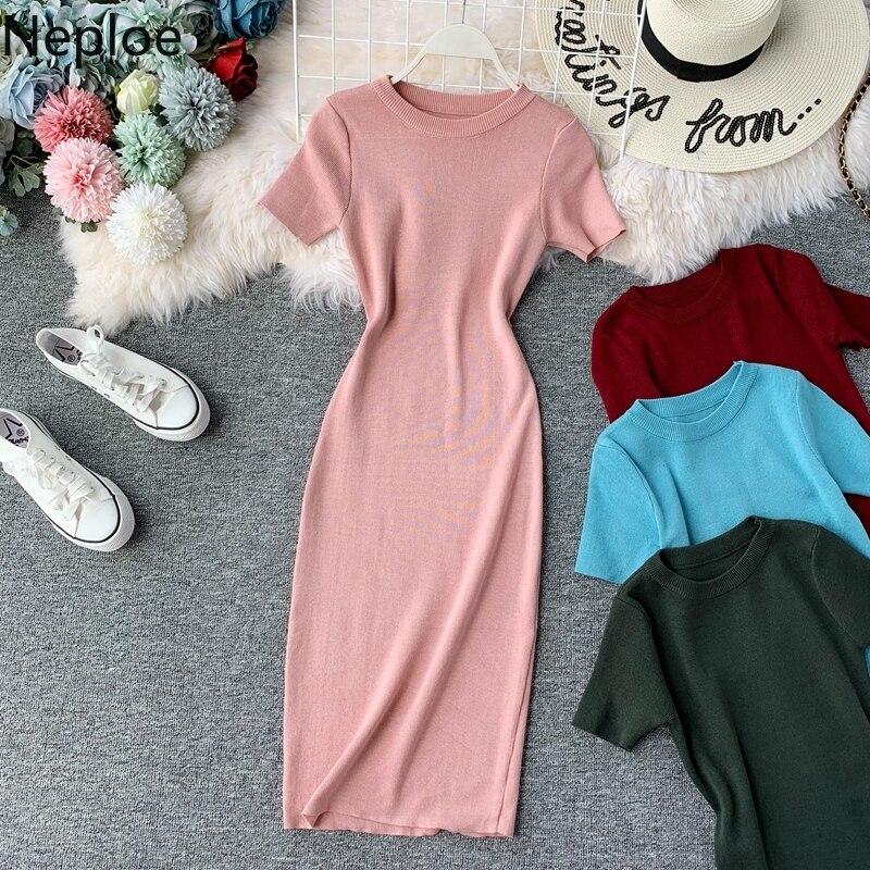 Neploe O Neck Short Sleeve Bodycon Dress High Waist Hip Solid Knit Vestido Spring Summer 2020 New Elastic Ropa Mujer 49395