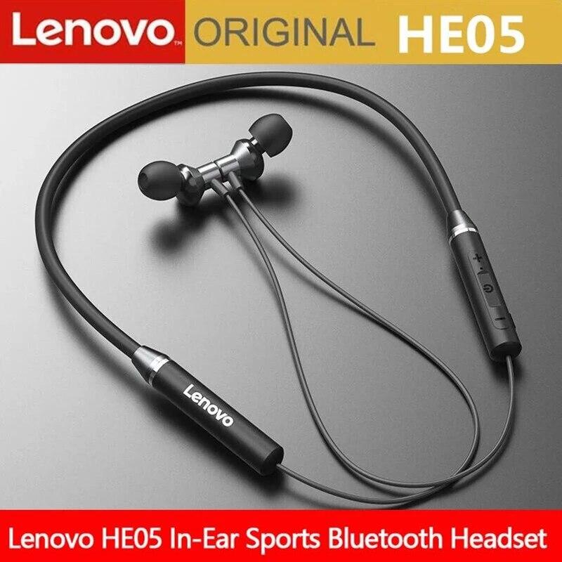 Lenovo Bluetooth Earphones HE05 Wireless Earbuds Magnetic Neckband Earphone Waterproof Sport Headset with Mic Noise Cancelling
