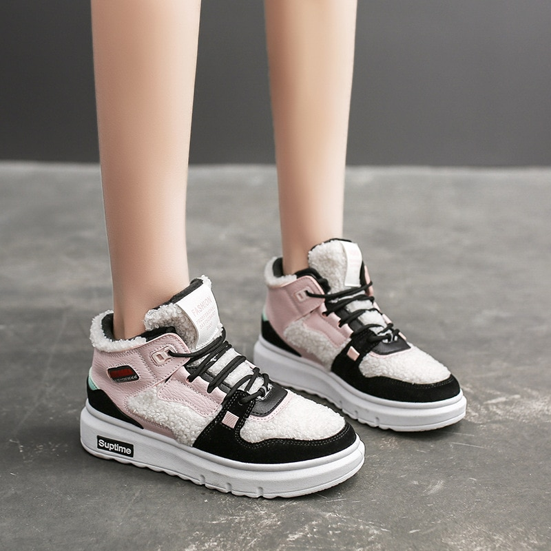 Обувь маленького размера; Цвет белый; Зимние теплые вельветовые кофты для девочек спортивная обувь все-матч студенческие ботинки с высоким ...