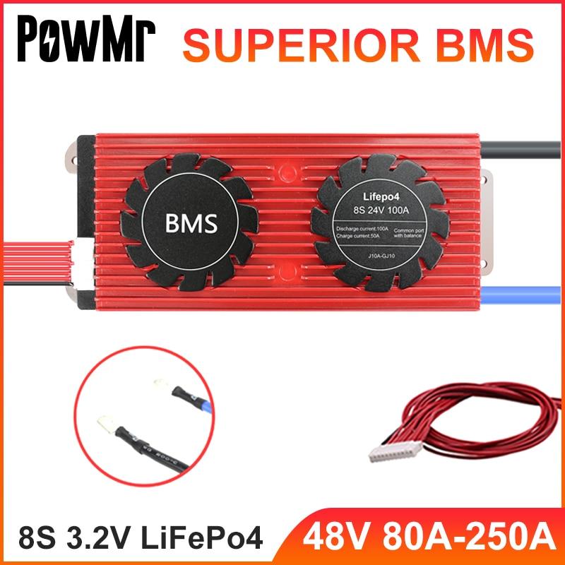 PowMr 8S 3.2 فولت LifePo4 بطارية ليثيوم لوح حماية 24 فولت BMS 80A 100A 120A 150A 200A 250A للدراجة الإلكترونية شحن خلية التفريغ