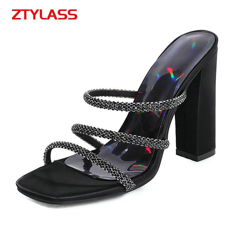 Women Square Heel Sandals Summer Open Toe High Heel Gladiator Sandals Fashion Slip On Slippers Dress