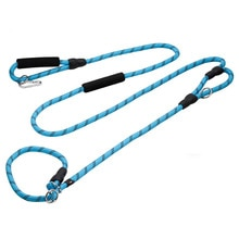 Reflective P Chain Large Dog Leash Slip Collar 2 Handles pet Walking Lead Long short Dog Rope Double handle For Medium big Dogs