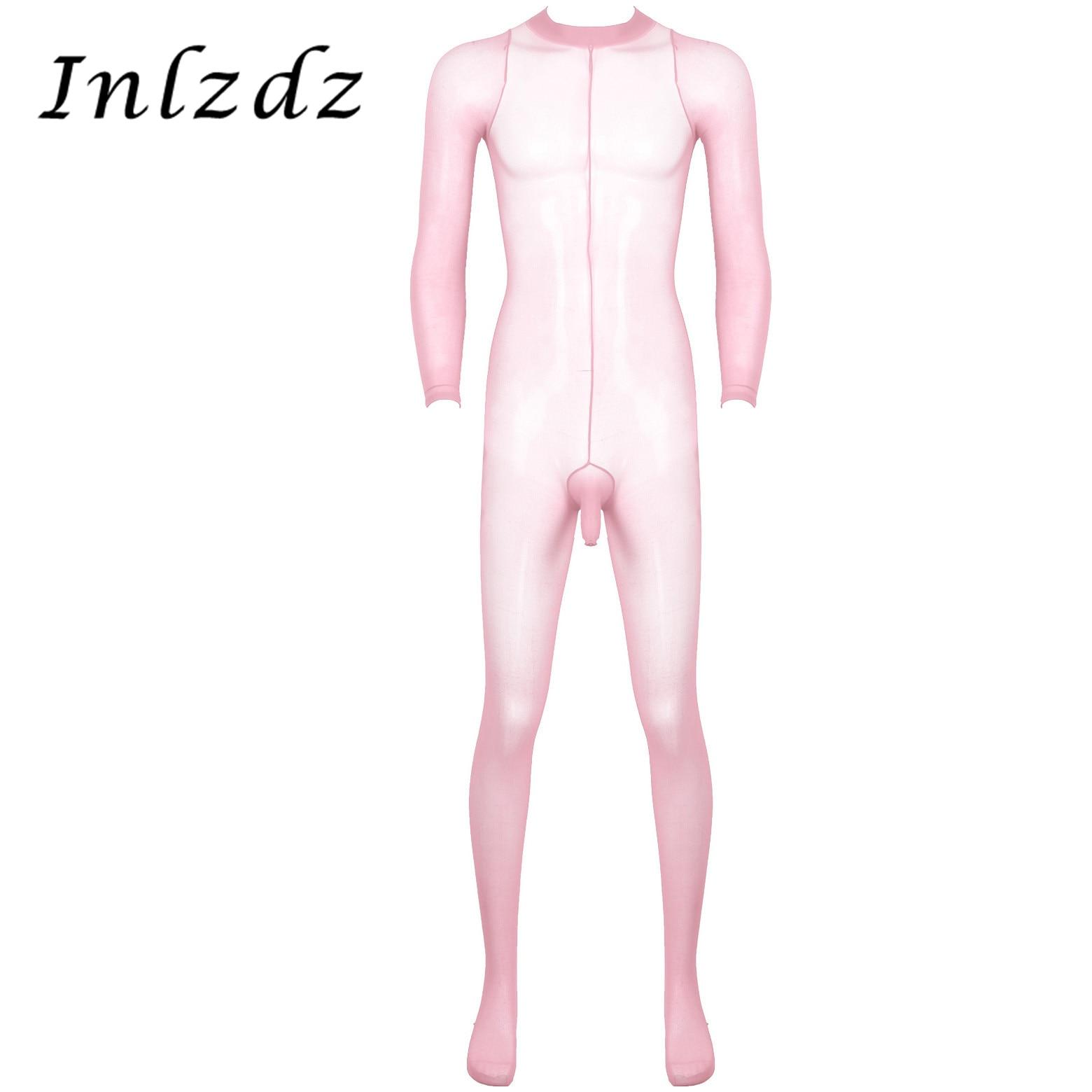 Medias de lencería eróticas para hombre, medias de cuerpo completo transparentes y transparentes con diseño de vaina abierta para el pene, pantimedias corporales elásticas para los dedos cerrados