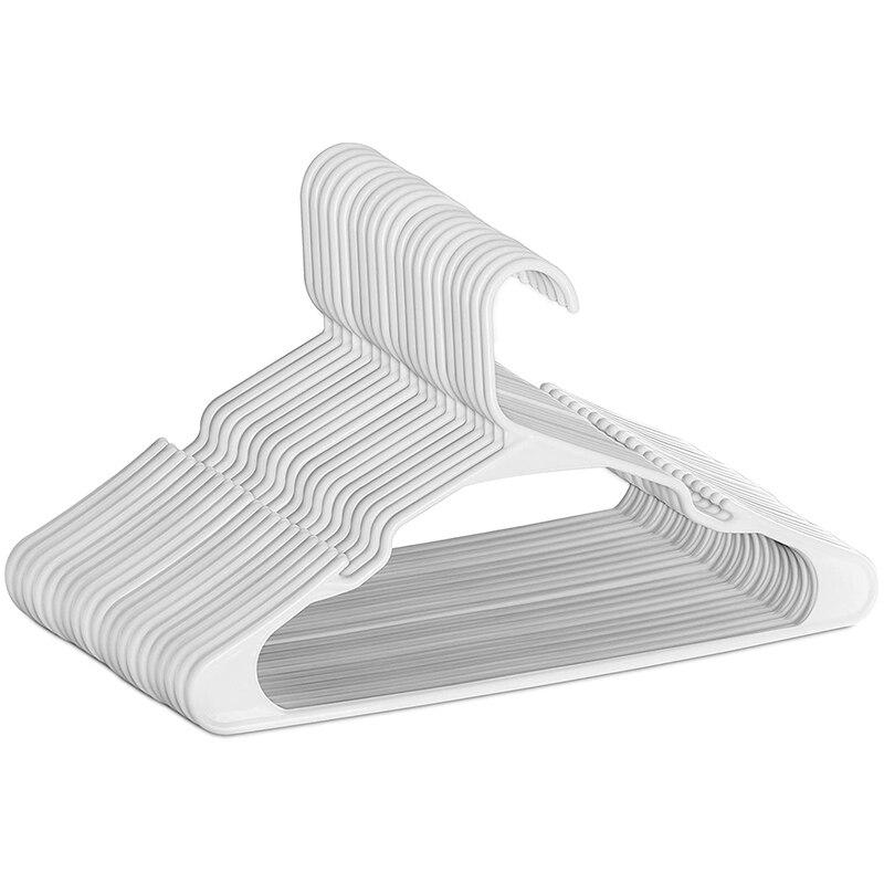 علاّقات بلاستيكية بيضاء للملابس-توفير مساحة الشماعات المحززة-أخاديد متينة ورفيعة الكتف 50 قطعة