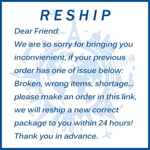 This link is for the customer who receive the defective order and needs us reship an new order