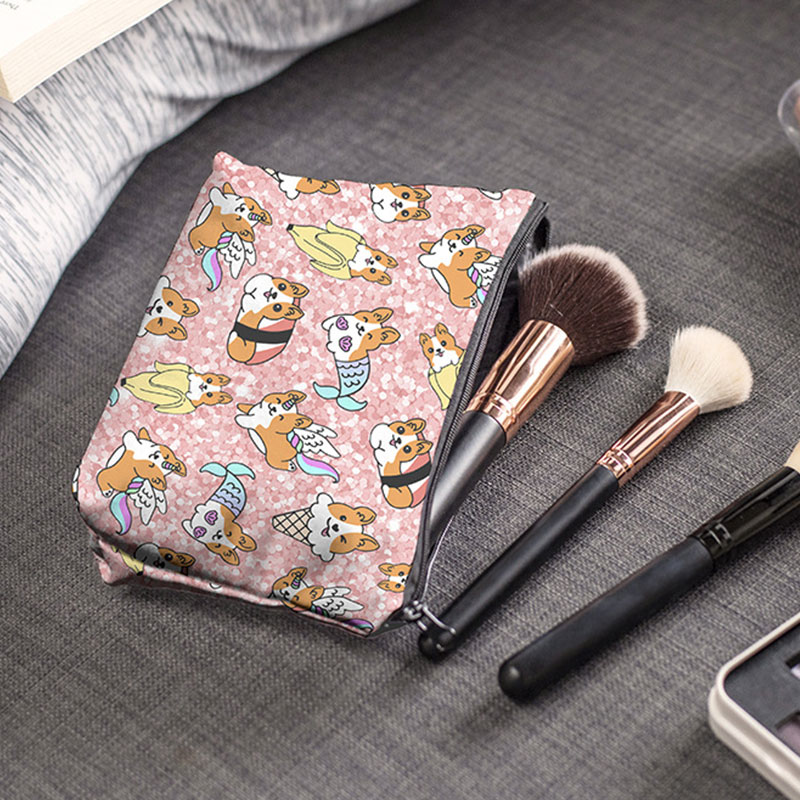22*13.5cm Can install makeup brush Makeup Bags Cute corgi Printing Cosmetics Pouchs Women Cosmetic B
