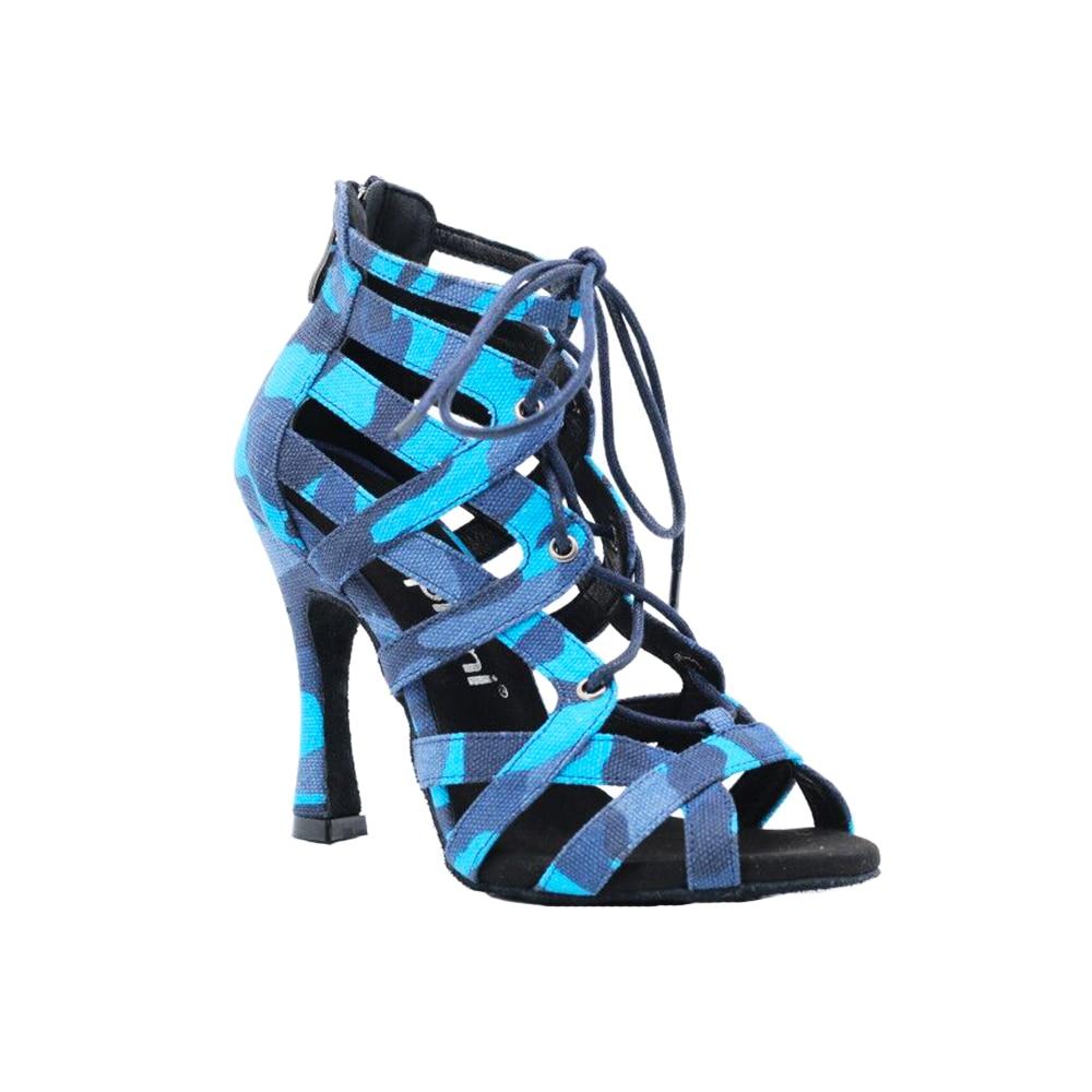 Zapatos de baile latino con cordones y tacón de 10cm, de tela Camuflaje Azul, sexi, para fiesta de chicas, botas para bailar salsa