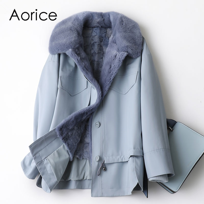 Aorice النساء الشتاء الحقيقي فرو منك معطف سترة سترة خندق 2021 جديد الإناث على حجم المعاطف A10013