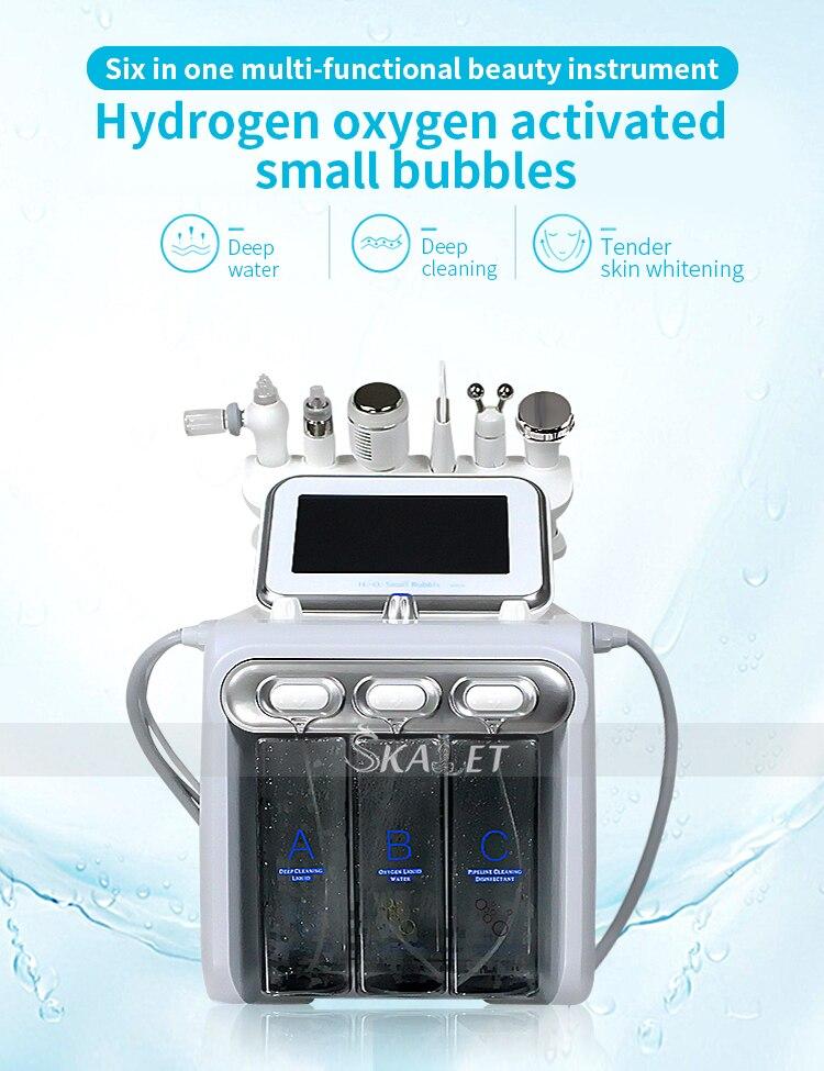 2020 actualización 6 en 1 herramientas pequeñas de cuidado de la piel de burbuja RF Hydra profunda Facial poro limpieza Facial masaje máquina