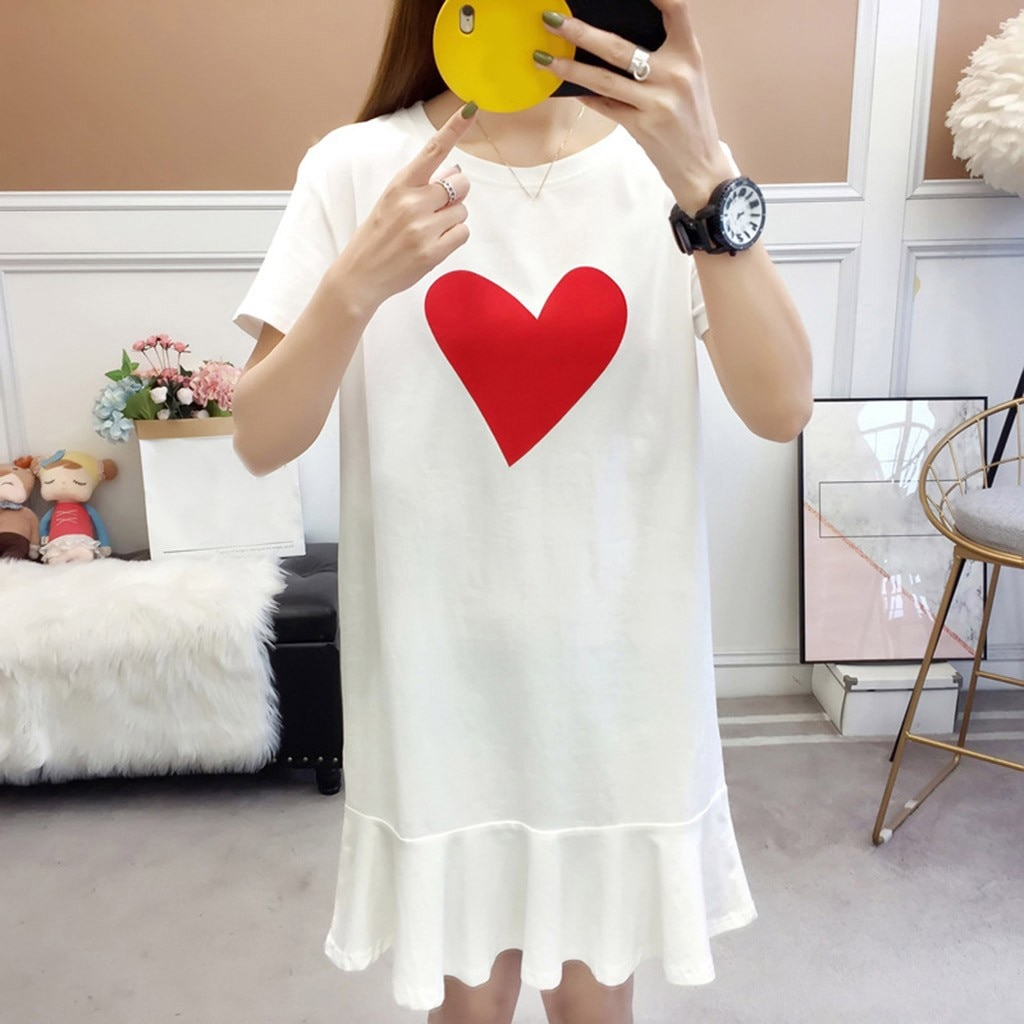 2020 novo feminino cor sólida amor impressão o-pescoço manga curta falbala vestido verão diário elegante casual moda feminina vestido