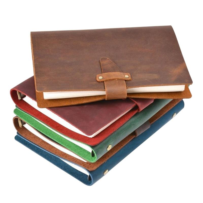 Leather Vintage Loose Leaf Notebook Diary Journal Planner Sketchbook DIY  Writing Materials Office School Gift 23.5*17cm