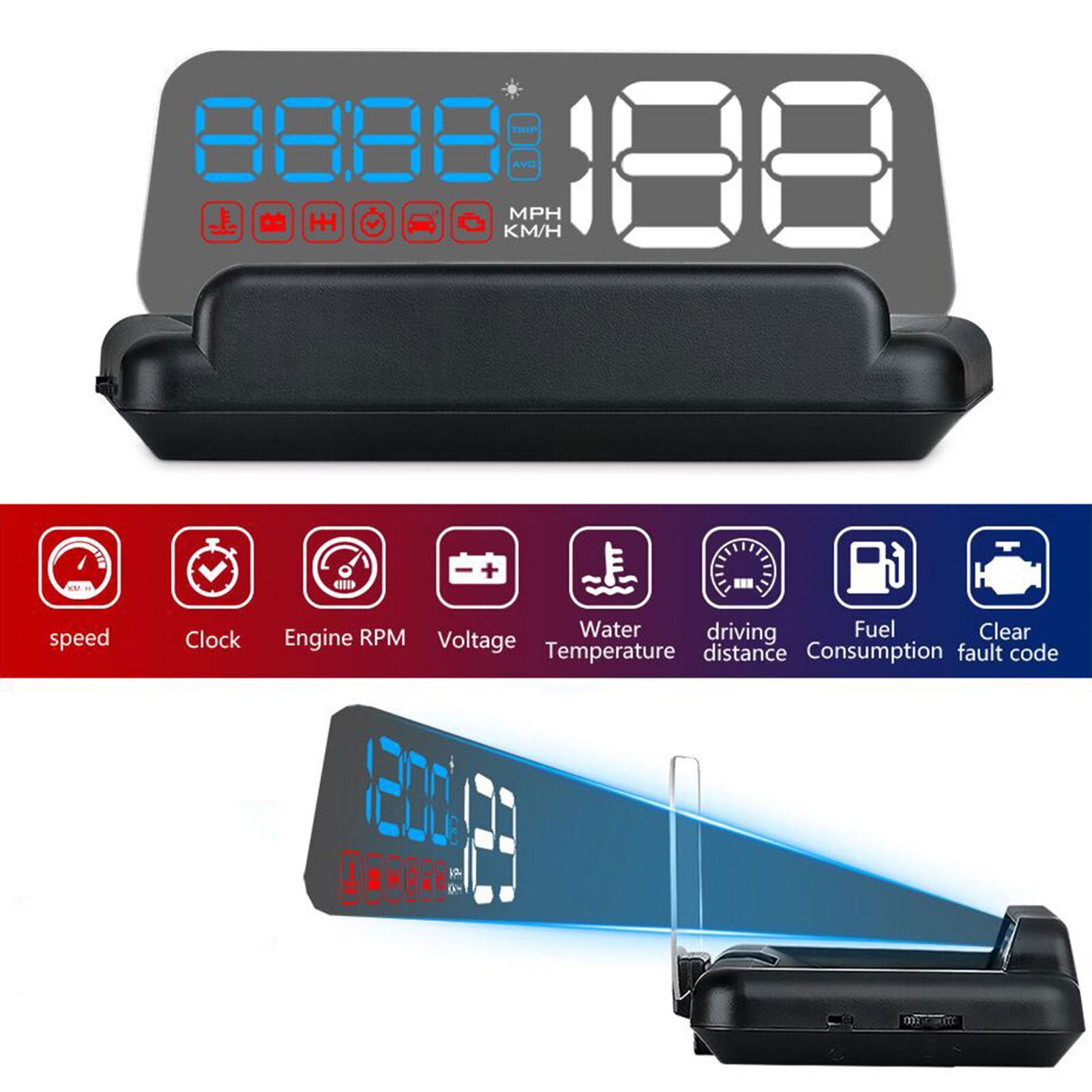 Universal T900 Mirror Car Head Up Display GPS Speed Projector Overspeed RPM Voltage Security Alarm D