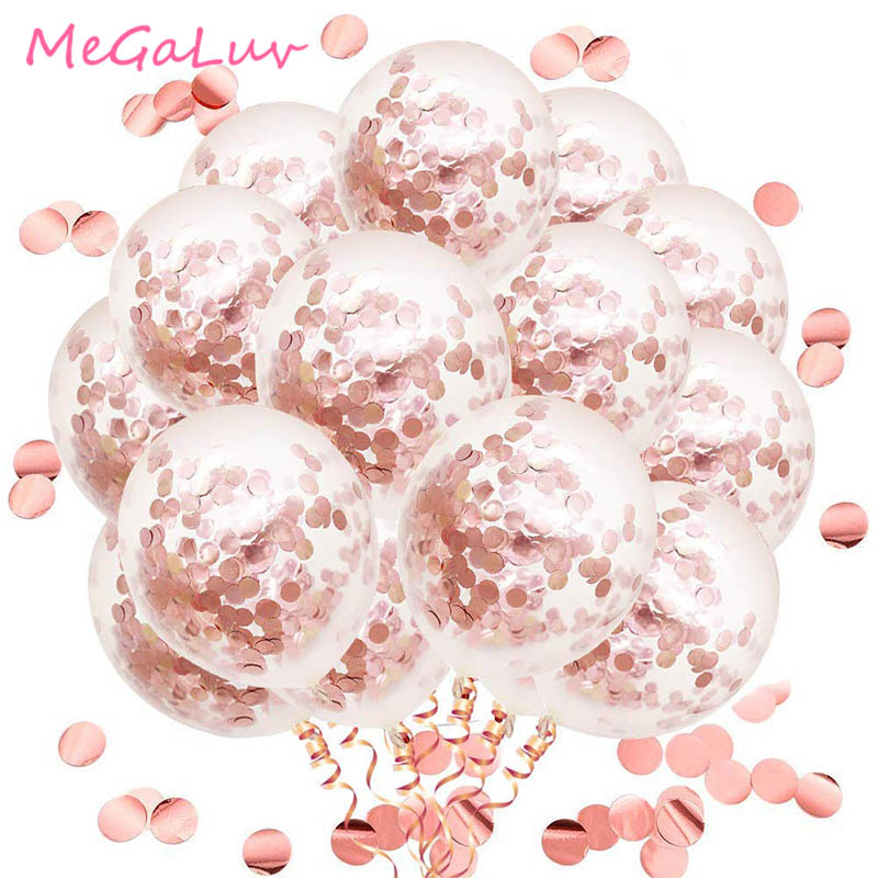 50pcs 12inch Rose Gold Confetti Latex Balloons Party Balloons for Bridal Shower Wedding Engagement Birthday Decoration 72pcs mint green with gold confetti cake plates 7 premium quality paper plates wedding bridal shower engagement party supplies