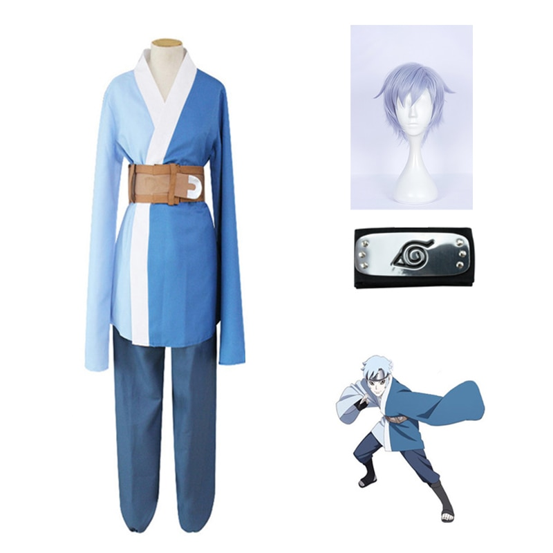 Naruto Shippuden Boruto-perruque, Costumes de Cosplay pour personnage Mitsuki, Kimono, costume pour fête de noël, pantalon haut bleu