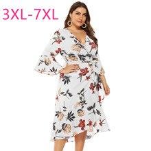 Printemps été nouvelle grande taille robe longue pour les femmes grande ample décontracté à manches longues fleur col en V robes ceinture blanc 4XL 5XL 6XL 7XL