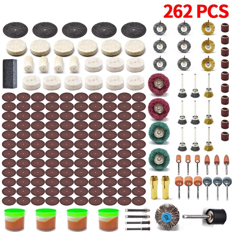 262pcs Electric Mini Drill Bit Kit Abrasive Rotary Tool Accessories Diamond Cutting Discs Sanding Grinding Set for Dremel
