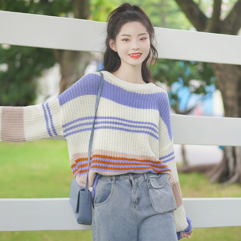 Chic Khaki Autumn and Winter 2020 New Loose round Neck Sweater Women's Mixed Color Stripe Knitwear Base All-Matching Top Fashion