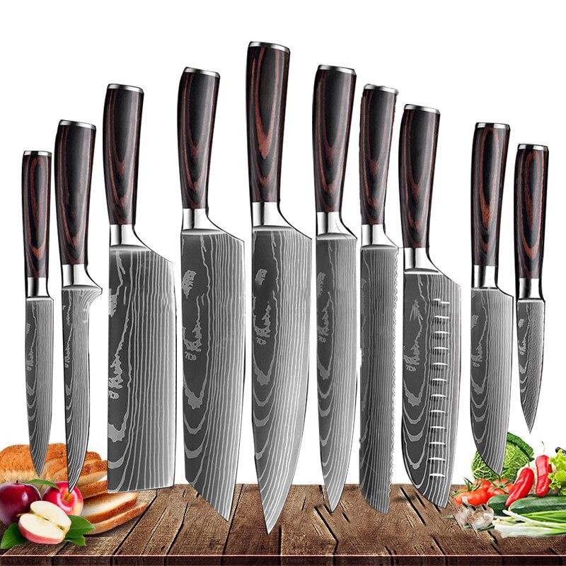 Японские кухонные ножи 8 дюймов, резец шеф-повара с лазерным узором Дамаска, острый сантоку, Мясницкий резак, универсальный инструмент для н...