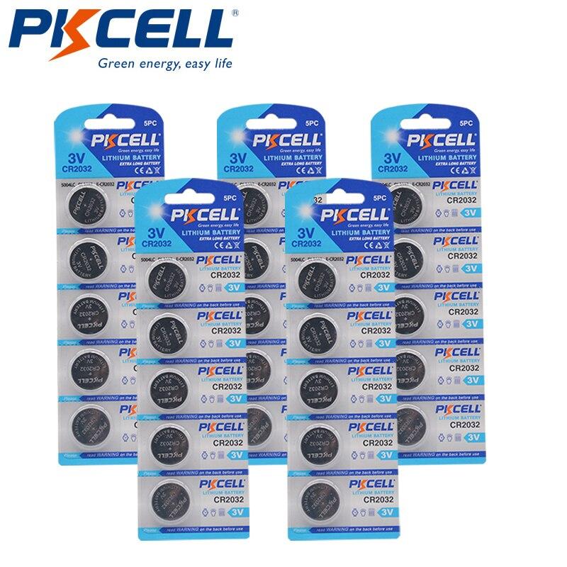25 pces (5pc/cartão) bateria de pilha de botão de lítio 3v cr2032 2032 dl2032 ecr2032 br2032 igual dl2032, br2032, kl2032, 15004lc, l2032, ec