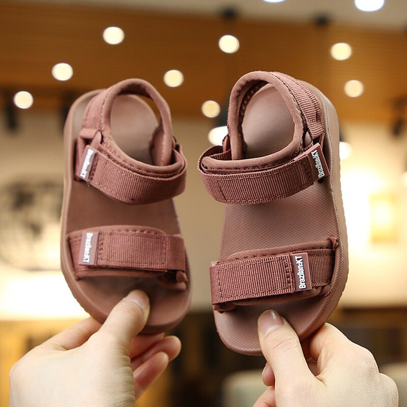 Summer New Canvas Sandals Boys Girls Solid Color Soft Soled Anti-Slip Children Kids Shoes Beach