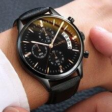 CUENA hommes montres hommes luxe Sport boîte en acier inoxydable montres bracelet en cuir Quartz analogique montre-bracelet Relogio Masculino
