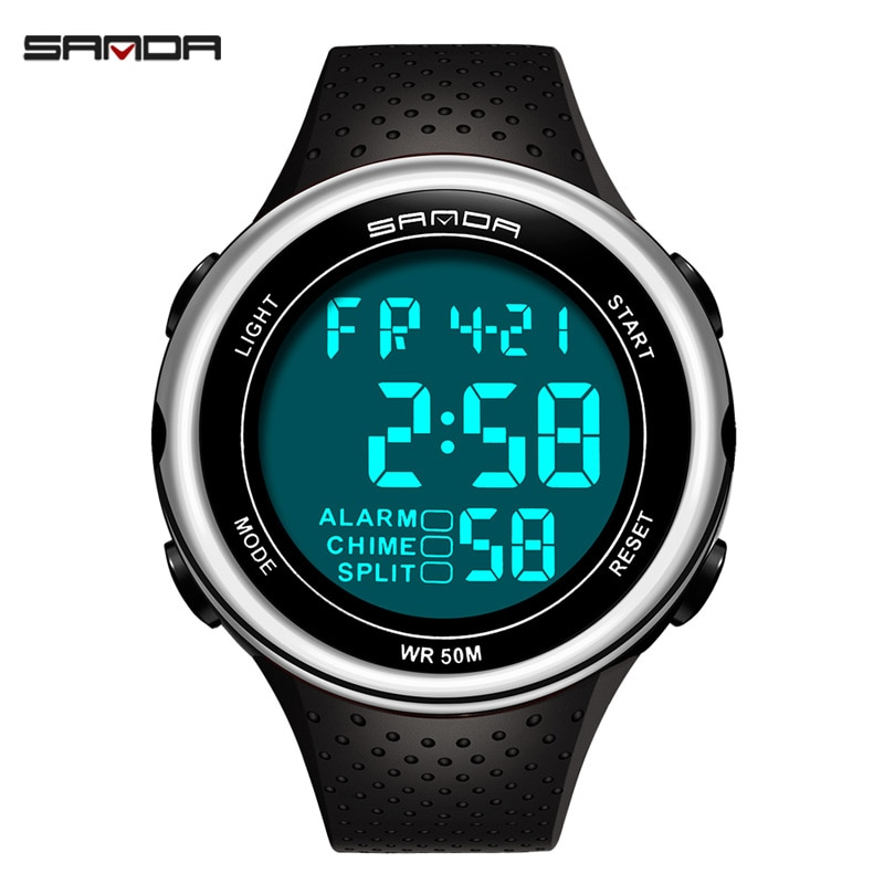 Relojes de marca SANDA para hombres reloj Digital Led 375 reloj electrónico de lujo reloj de pulsera deportivo de buceo reloj masculino