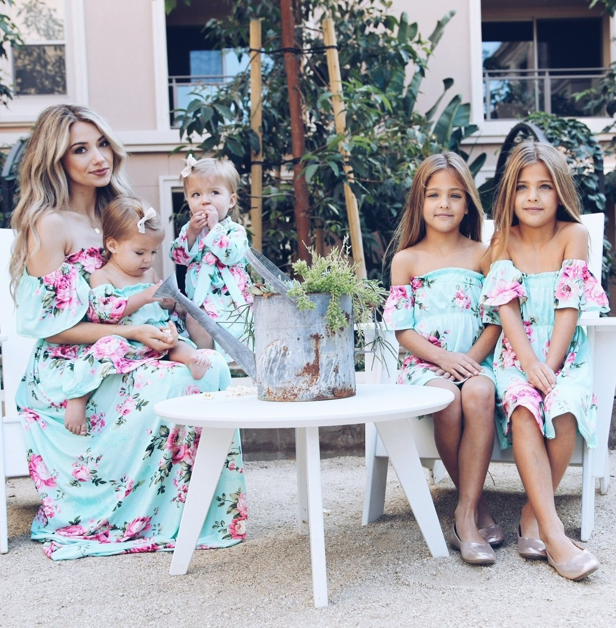 Mum Off Shoulder Mother Daughter Dresses Boat Neck Mommy and Me Clothes Family Matching Outfits Flower Mom Mama Baby Dress Look