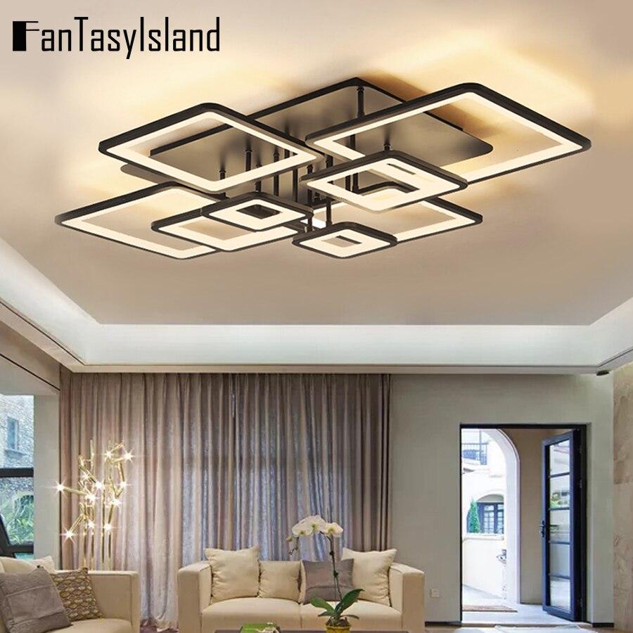 110 فولت 220 فولت الذكية Led ثريا تركب بالسقف ضوء لغرفة المعيشة المطبخ غرفة الطعام الحديثة الأسود ساحة إضاءة داخلية تركيبات