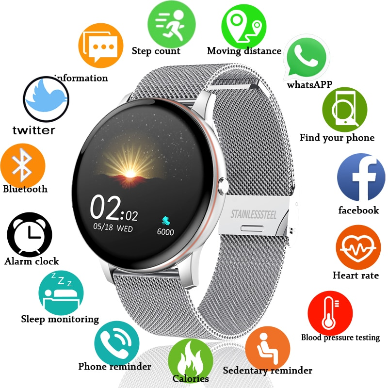 LIGE 2021 New Color All Screen Smart Watch Women Men Multifunctional Sport Heart Rate Blood Pressure