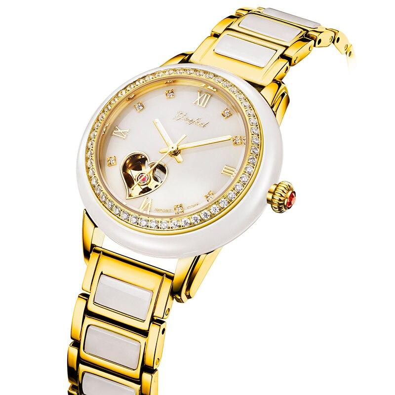 Reloj Mecánico de Jade tallado a la moda de lujo totalmente automático apto Para regalos de Mujer