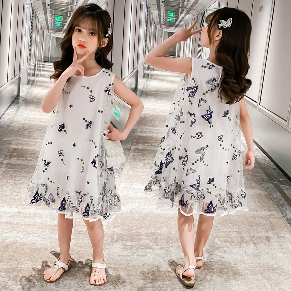 2021New Summer Girls' Dress Girls Butterfly Sling Mesh Dress Girls Ballet Dance Party Princess Dress