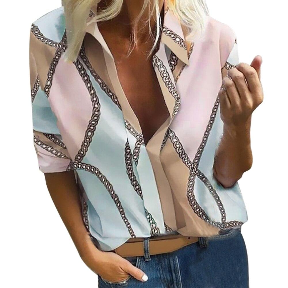 Blusa Bohemia con estampado de puntos, Blusas informales para mujer, Blusas de otoño 2019, camisa de mujer Chemisier Femme Plus Size 5XL, camisa hawaiana