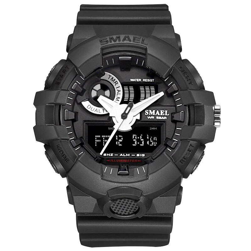 SMAEL Fashion Men Watch Date military black PU The Mens' Watches Analog Quartz WirstWatch Sport Casual Clock Montre Homme
